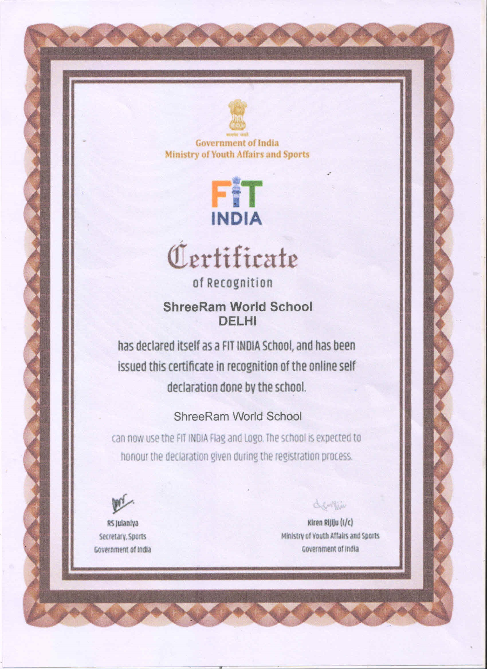 Fit India Certificate of Recognition